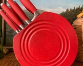 Discontinued Fiesta Knife Set with Wood Scarlet Red Fiesta Plate Shaped Holder 8 Original Knives