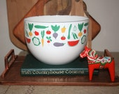 Vintage Finel Large Enamel Bowl Vegetable Design Arabia Finland Fruit and Vegetables