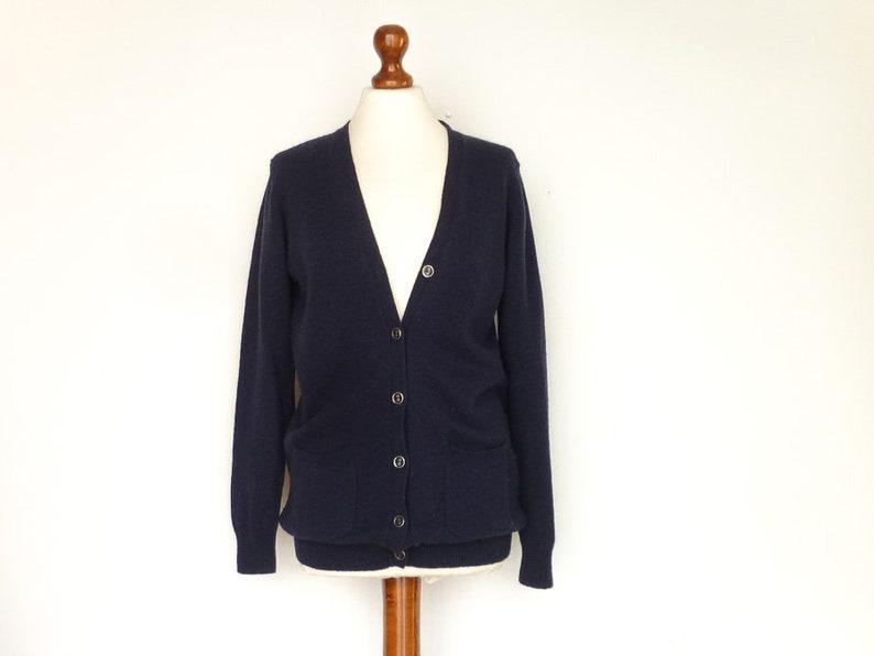 Vintage Womens Cardigan Wool Woolen  Navy Blue  Buttoned  Front Pockets  Classic Minimalist  small medium