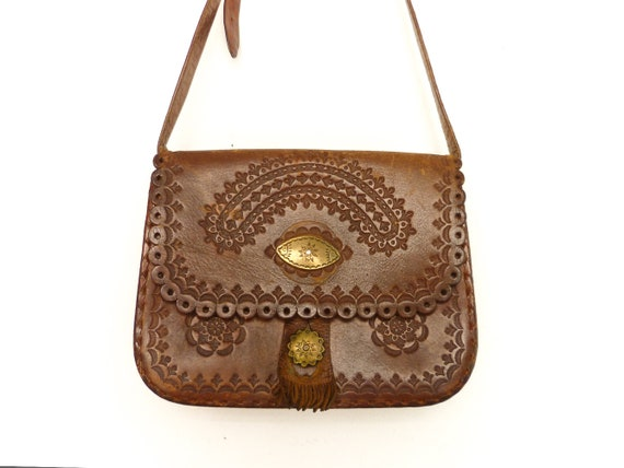 Boho Leather Bag Medium Size Thick and Sturdy Lovely Brown Tooled Leather Shoulder Purse  Bag VINTAGE 1970/'s