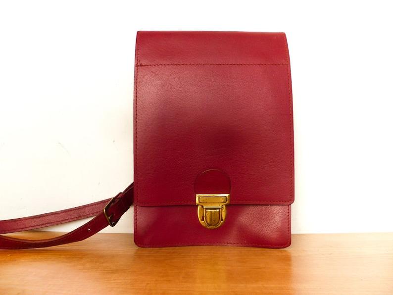 À Vintage Sac Besace BandoulièreEtsy Messenger Cuir Rouge c3RL4j5AqS