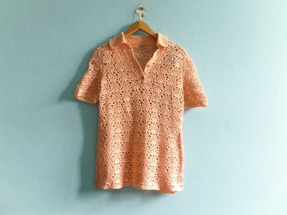 Vintage Crochet Top Blouse / Crocheted / Salmon Pi