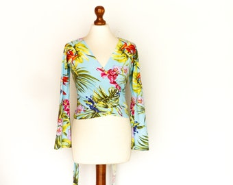 Vintage Exotic Floral Top Blouse / Wrap Top / Cropped / Blue / Green Pink Flowers / Bell Sleeves / Summer Beach / Hippie Boho / small medium