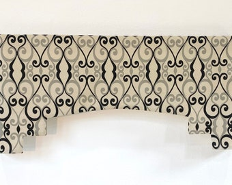 Window Valance Faux Cornice Blue White Accent Band Lined Invisible Rod Pocket Your Fabric MADE TO ORDER