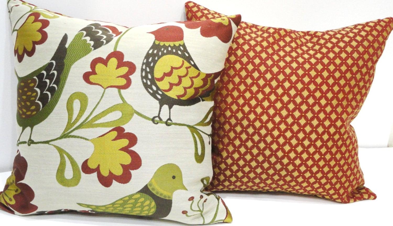 SALE Home Decor Pillows Embroidered Birds Naturer 18 X 18