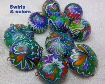 Multilisting handmade beads, metallic colors, swirl beads, fall colors, polymer clay beads, exotic colors, exotic beauty, natural beauty