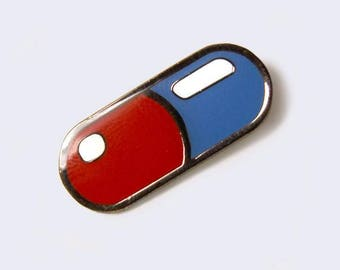 Red and Blue Pill Enamel Pin (Glow-in-the-Dark)