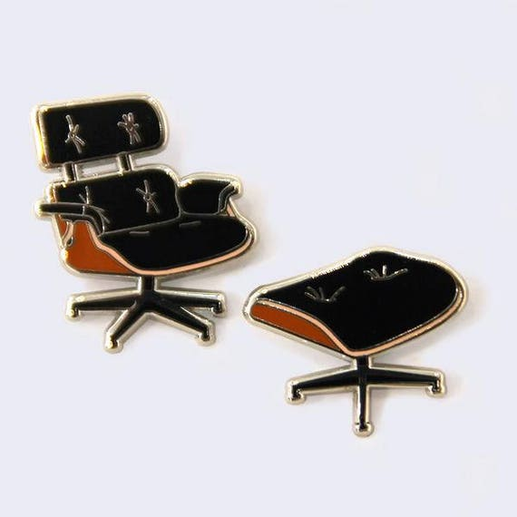 eames lounge chair and ottoman enamel pins etsy. Black Bedroom Furniture Sets. Home Design Ideas