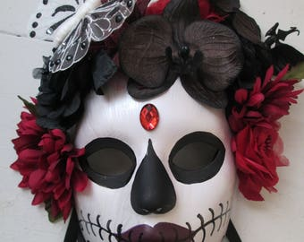 sugar skull wedding mask halloween mask day of the dead mask dia de los muertos catrina mask womens masks zombie bride