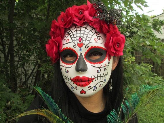 Le jour des morts Gris Roses Sugar Skull Bandeau Veil Halloween Déguisement Robe mariée