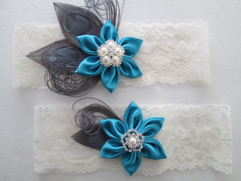 Silver Gray PEACOCK /& Teal Blue Garters Ivory Lace Bridal Garter Turquoise  Silver Wedding Garter Set Something Blue Garter Aqua Blue