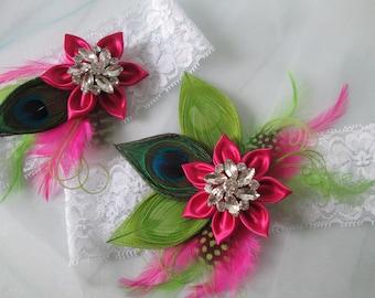 Peacock Wedding Garter Set, Hot Pink & Lime Green Garters, White Lace Garter, Hawaiian Bride Garter, Tropical Garters