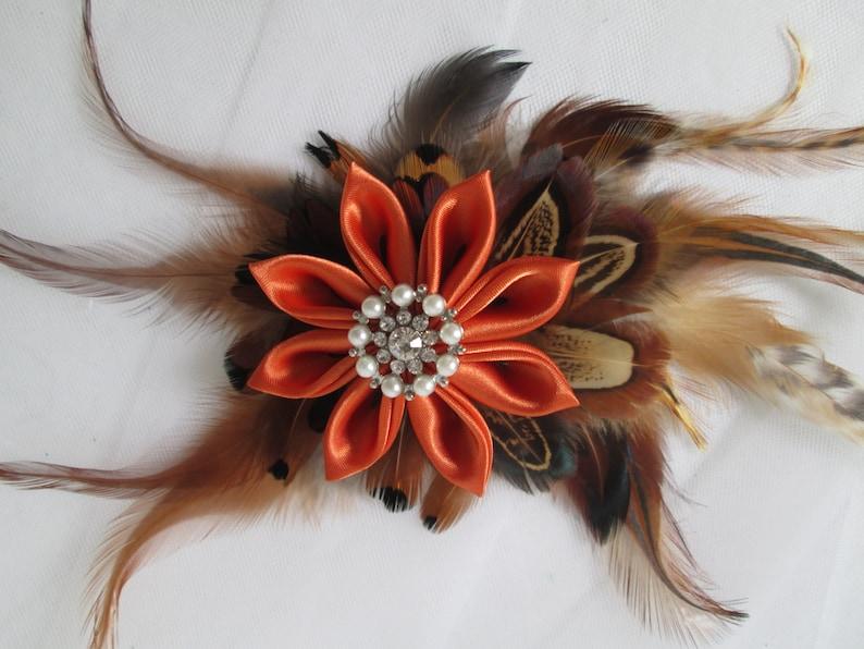 Barnyard Wedding Fall Autumn Wedding Fascinator Pheasant Feather Bridal Hair Flower Clip Pumpkin  Burnt Orange Kanzashi Head Piece