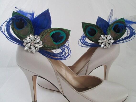 PEACOCK Wedding Shoe Clips, Royal Blue Peacock Feather Shoe Clips, Bride Shoe Accessories, Royal Blue Wedding Shoes, Royal Blue Weddings