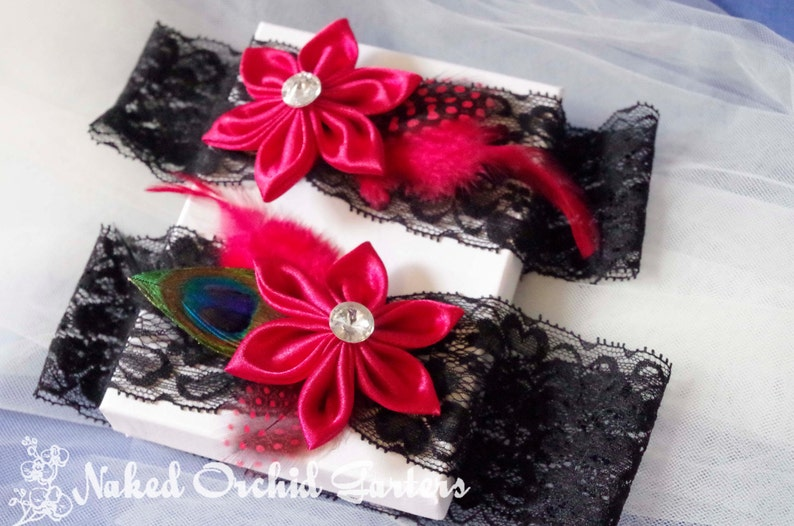 Black Lace Garter for Vintage Circus- Bettie Page- Pinup Girl Peacock Garters Dance Costume Red Wedding Garter Set