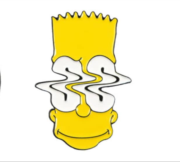 The Simpsons Bart Simpson Trippy Eyes Wave Enamel Pin Brooch Badge Cute Cartoon Gift Women Men Unique Rare Accessories Rave Mashup Party