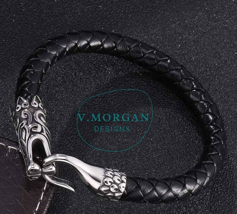 Mens black Leather handmade Braided Bracelet with Steel Magnetic Dragon Clasp, jewelry gift ideas unique steampunk punk rock unique rare