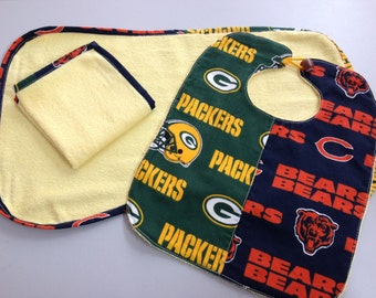 Football Divided Home Baby Bib/Washcloth/Burp Cloth Set_Yellow_Bears/Packer