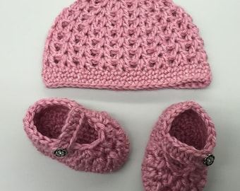 Crochet Baby Mary Jane Shoes & Hat Set_Pink