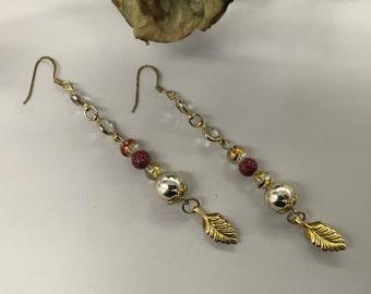 SJ Red and Gold Beaded Dangle Earrings