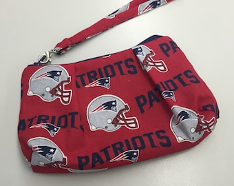 New England Patriots Double Pleated Wristlet