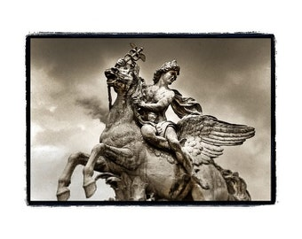 Paris- Horse,Stormy,Clouds,Historical, Black and White,Sepia,Mercury on Pegasus Fine Art Print 8x10