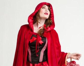 Little Red Riding Hood Hooded Red Velvet Cape- Red Cape - Velvet Cape - Red Velvet Cape- Halloween