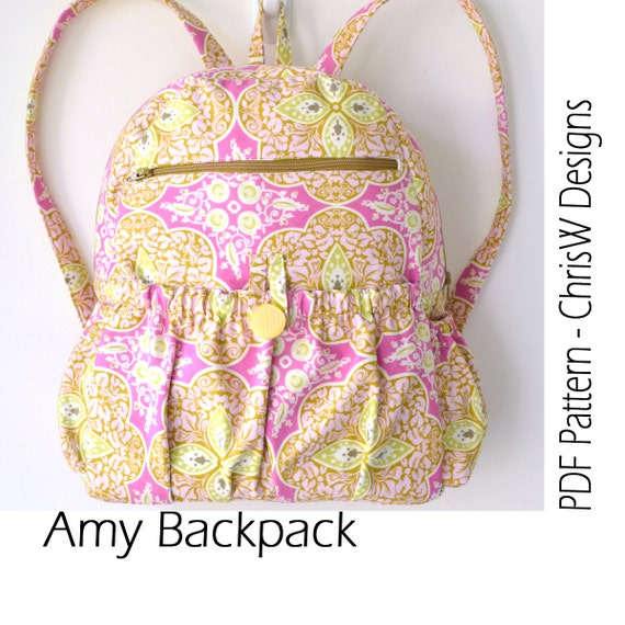 51a6a1c6ad3 Lined Zippered Backpack PDF Sewing Pattern Amy by ChrisW   Etsy