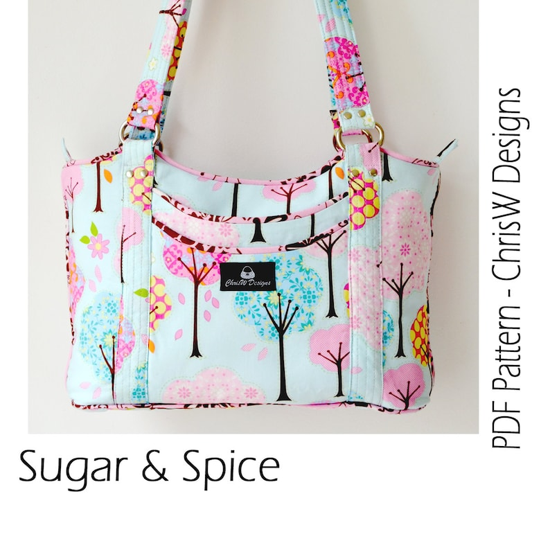 Designer Handbag Pattern PDF for sewing your own Purse. Sugar  488a52bc92a6b