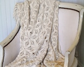 Vintage Lace Crochet Blanket Coverlet Throw