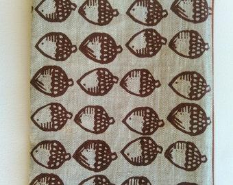 Zipper Pouch Linen Acorns Hand Screen Printed