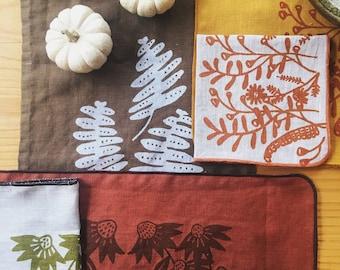Floral Linen Napkins set of 4, handprinted tableware, linen homegoods, woodsy