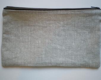 Zipper Pouch, Linen Pouch, Natural Linen, Zipper Bag