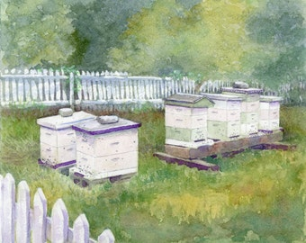 Leigh's Bees 11x14 matted print
