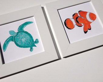 Sea Turtle Art - Beach Nursery Art - Colorful Set of Sea Turtle and Clownfish - Beach Baby Nursery Decor - Sea Turtle Theme - Beach Gifts