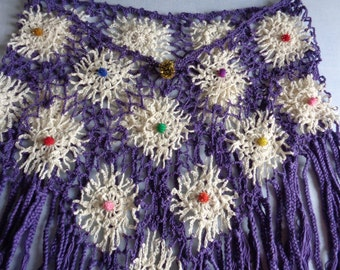 Plus Size Beige n' Purple Crochet Capelet - Braided Tassel Capelet, Capelet Poncho,  Party Glitter Tassel Crochet Capelet - Shoulder Shawl