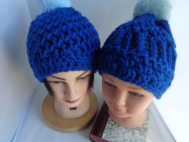 10d001ffcdf Unisex Royal Blue Matching Beanie hats Father Son  Daughter