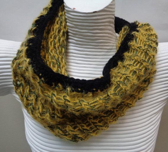 Mustard Loom Knit Cowl Scarf Infinity Cowl Warmer Loom Etsy