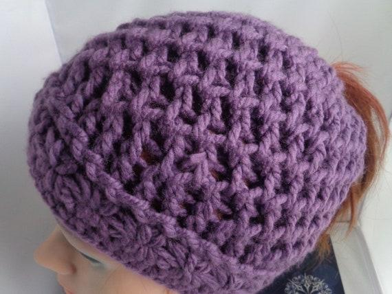504b61652 Purple Vegan Ponytail Beanie Hat, Messy Bun Beanie Hat, Crochet and Knit  Messy Bun Toque Hat, Head warmer beanie hat, Winter Accessories,