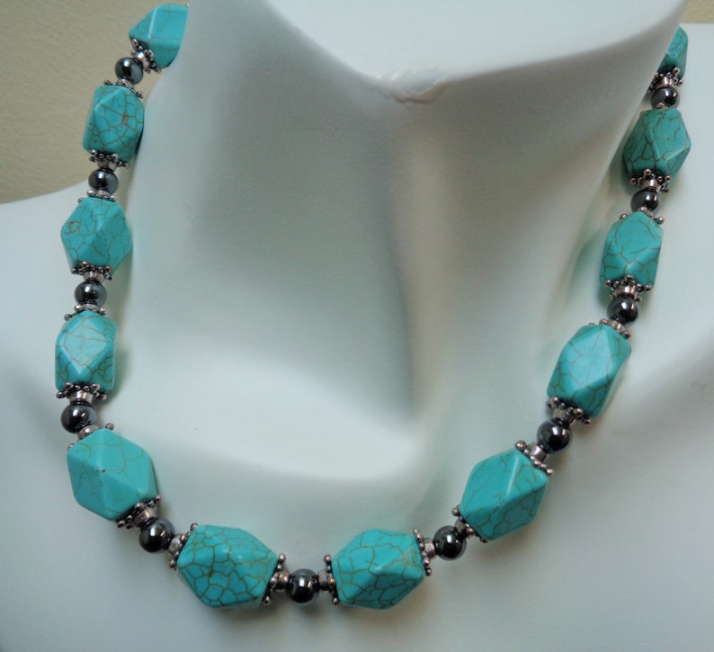by lanesamarie Turquoise and Black Jewelry set Geometric Black Hematite /& Howlite Necklace  Earring Set Non Magnetic Hematite Jewelry Set