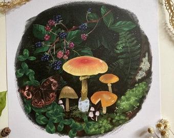 August (mushroom, fern, moss, blackberry woodland forest print)