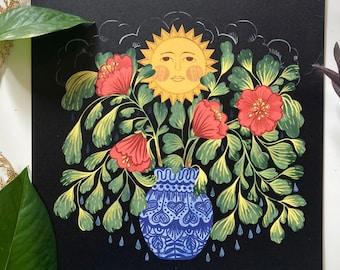 Sun, Rain, and Flowers On My Table (8x8)