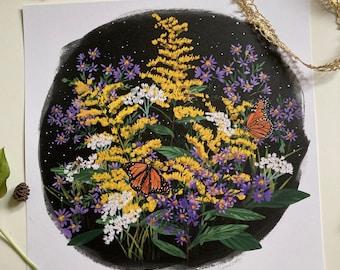 September (Goldenrod, Aster, Honeybee, Monarch) print 12x12