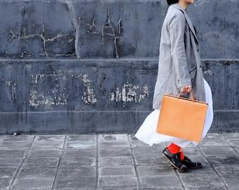 Artemis Leatherware Hand Stitched Leather Box Hand Bag/ Briefcase/ Portfolio Case