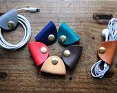 Artemis Leatherware Handmade Leather Earphone Holder - earbud - cable holder - cable organizer - earplug holder - organizer