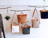 Artemis Leatherware Handmade Tan Leather And Canvas Shoulder Bag/ Tote Bag
