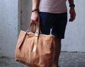 Artemis Leatherware Handmade Washed Out Leather And Canvas Tote Bag/ Shoulder Bag/ Travelling Bag