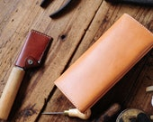 Hand Stitched Leather Simple Long Wallet