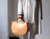 Artemis Leatherware Hand Stitched CIRCLE Leather Hand Bag/ Tote Bag/ Purse