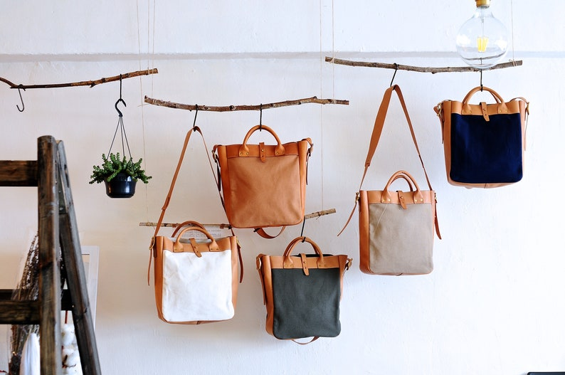 Artemis Leatherware Handmade Tan Leather And Canvas Shoulder image 0